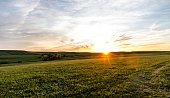 Sunset over the rolling Flint Hills of Kansas