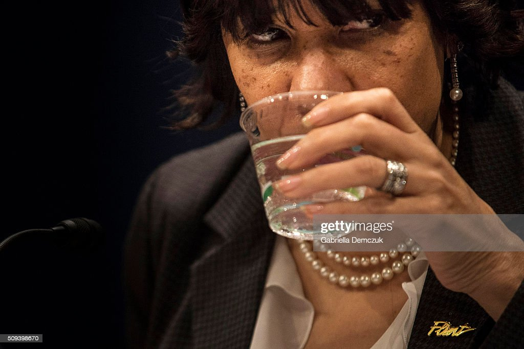 Flint, Michigan Mayor Karen Weaver takes a sip of water at the House Democratic Steering & Policy Committee hearing titled, 'The Flint Water Crisis: Lessons for Protecting America's Children' at the Capitol on February 10, 2016 in Washington, D.C. House Democrats hold a hearing on the toxic lead water crisis in Flint, MI.