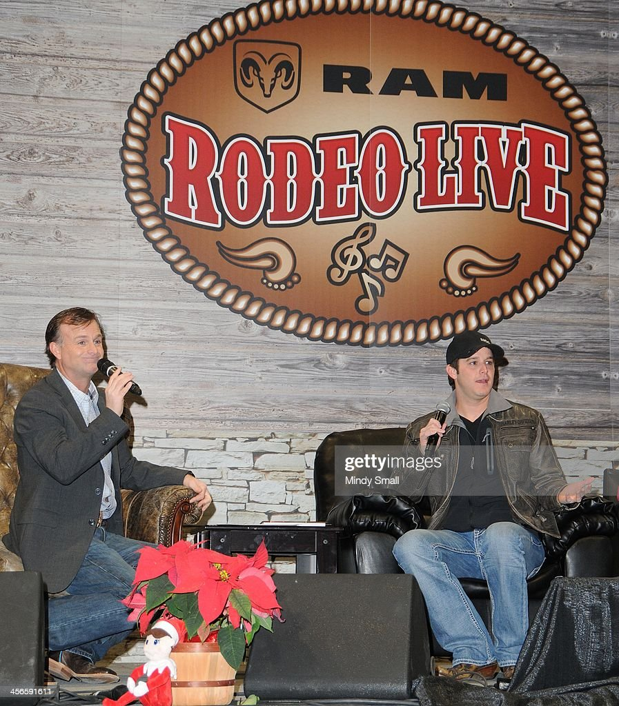 Flint Rasmussen and <a gi-track='captionPersonalityLinkClicked' href=/galleries/search?phrase=Easton+Corbin&family=editorial&specificpeople=6756492 ng-click='$event.stopPropagation()'>Easton Corbin</a> appear at Cowboy FanFest during the Wrangler National Finals Rodeo at the on December 14, 2013 in Las Vegas, Nevada.