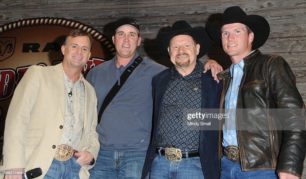 Flint Rasmussen, Brice Long, Moe Bandy and Justin McBride appear at Cowboy FanFest during the Wrangler National Finals Rodeo on December 11, 2013 in Las Vegas, Nevada.