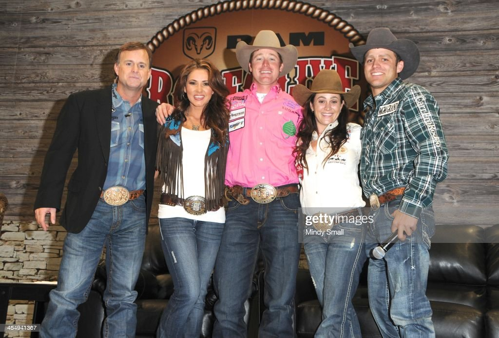 Flint Rasmussen, Shea Fisher, Tyson Durfey, Brittany Pozzi and Casey Colletti appear at Cowboy FanFest during the Wrangler National Finals Rodeo at the Las Vegas Convention Center on December 10, 2013 in Las Vegas, Nevada.