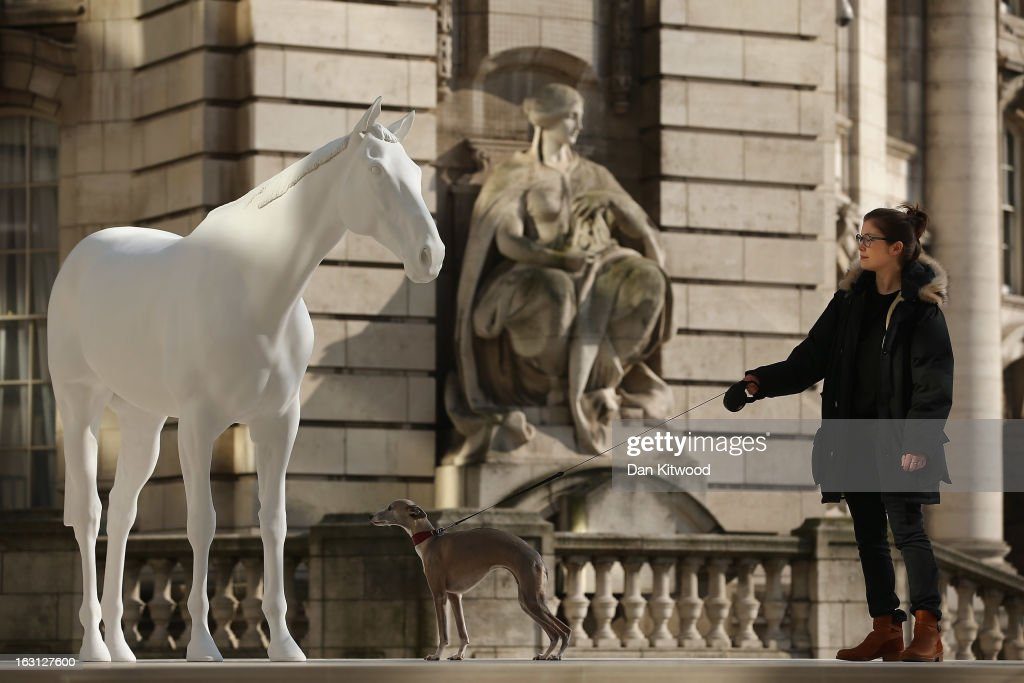 Flint the Whippet and owner Dolly Feaver stand beside the new sculpture 'The White Horse' by Artist Mark Wallinger after it was unveiled outside the headquarters of The British Council on the Mall on March 5, 2013 in London, England. The British Council unveiled the marble and resin, life-size sculpture representing a thoroughbred racehorse, as it announced a GBP 7 million investment in work connecting UK-based creative talent overseas.