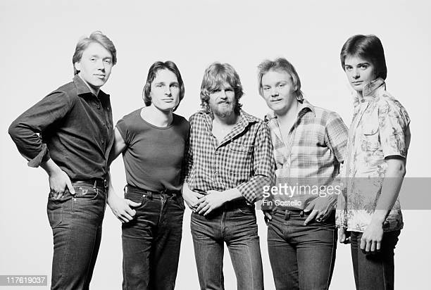 Flintlock British pop group pose for a group studio portrait in March 1979