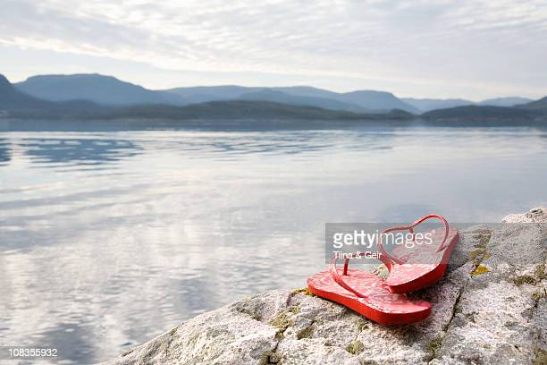 Flip flops on rock by sea and mountains