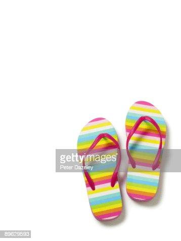 Flip flops on white background.