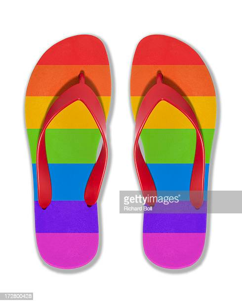 Flip flops with the colours of the rainbow
