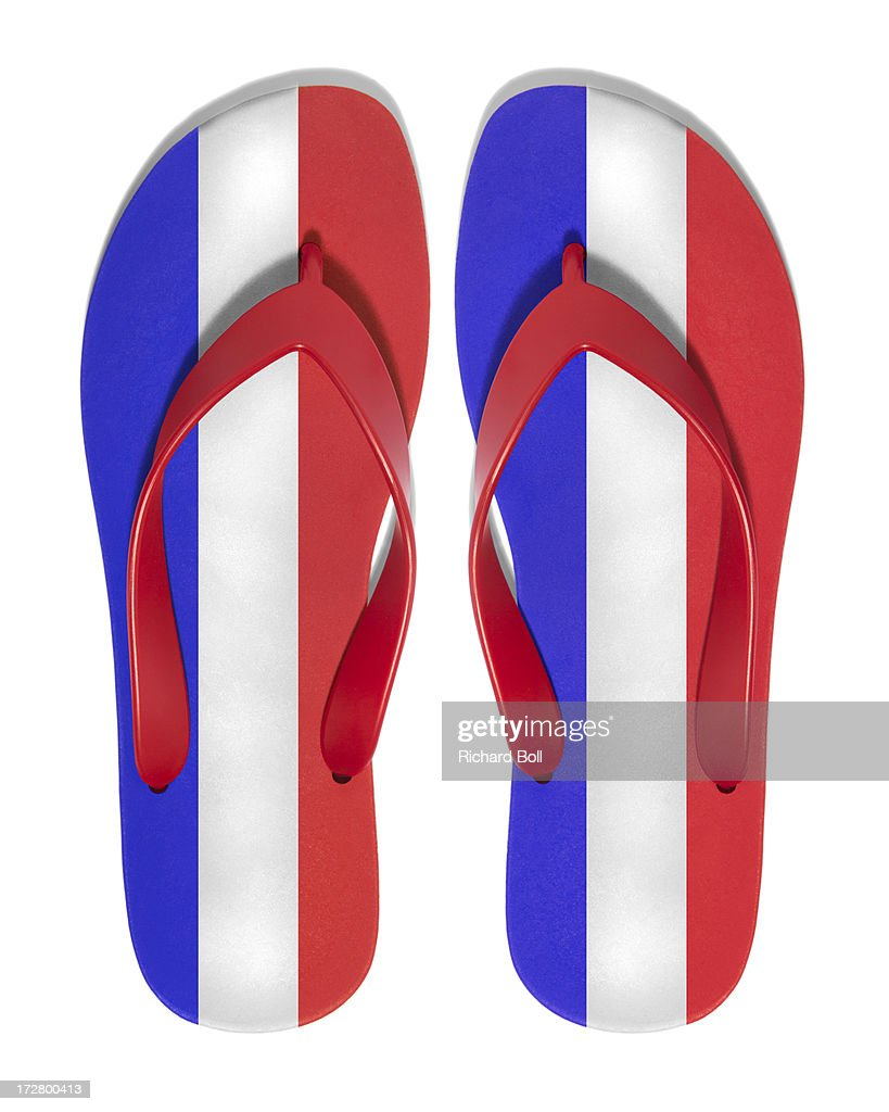 flip flops with the design of the french flag stock photo getty