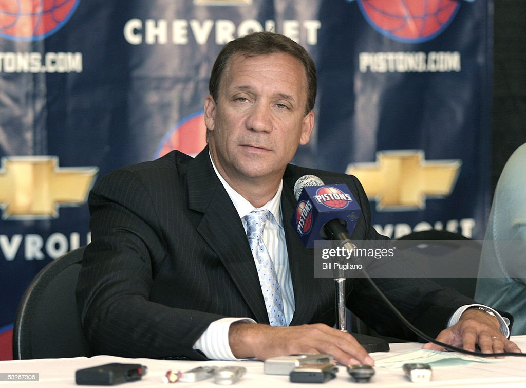 Flip Saunders new Detroit Piston Head Coach attends a press during a press conference at the Palace of Auburn Hills on July 21 2005 in Auburn Hills...