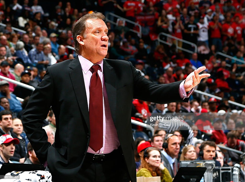 Flip Saunders of the Minnesota Timberwolves reacts during the game against the Atlanta Hawks at Philips Arena on January 25 2015 in Atlanta Georgia...