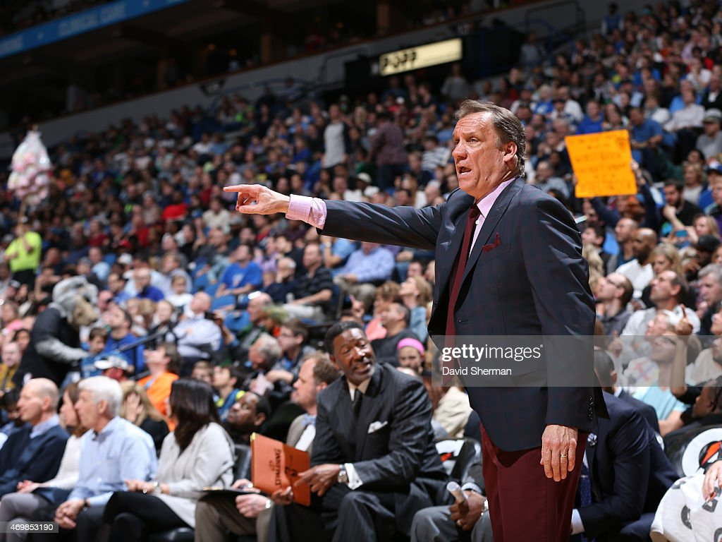 Flip Saunders of the Minnesota Timberwolves stands on the court during a game against the Oklahoma City Thunder on April 15 2015 at Target Center in...