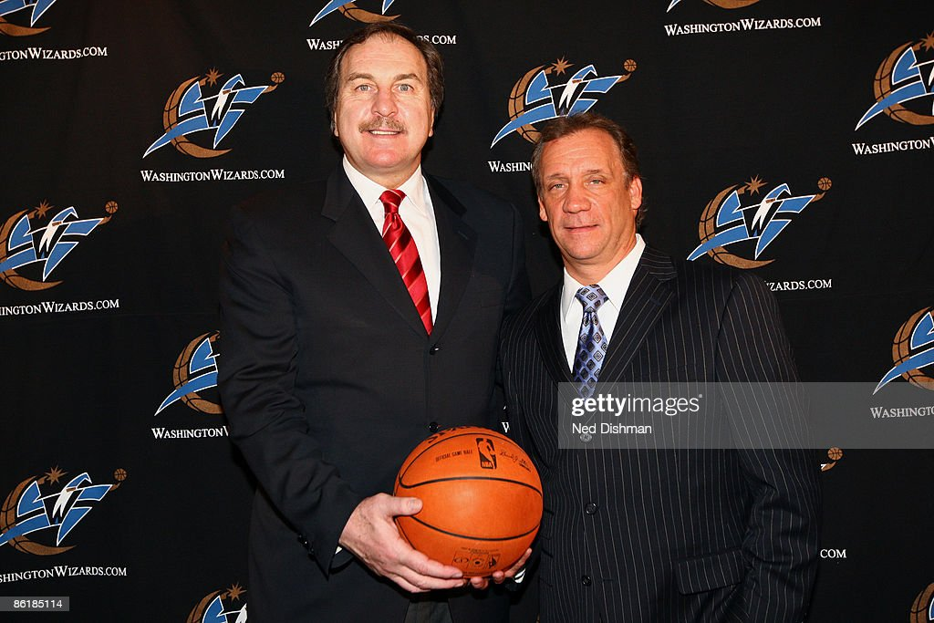 Flip Saunders of the Washington Wizards is introduced as the new Head Coach along with General Manager Ernie Grunfeld during a press conference at...