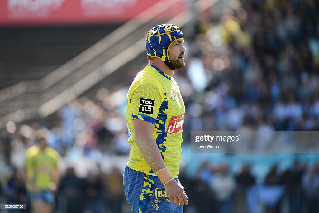 Flip Van Der Merwe of Clermont during the French Top 14 rugby union match between Racing 92 v Clermont at Stade Yves Du Manoir on May 1, 2016 in Colombes, France.