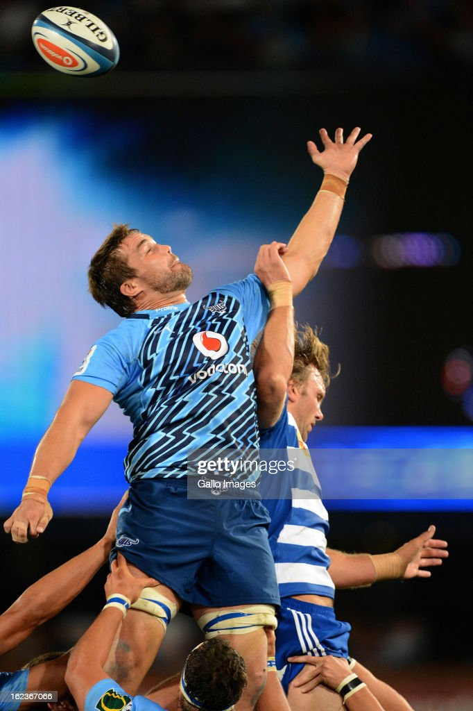 Flip van der Merwe of the Bulls wins the ball during the Super Rugby match between Vodacom Bulls and DHL Stormers from Loftus Versfeld Stadium on February 22, 2013 in Pretoria, South Africa.