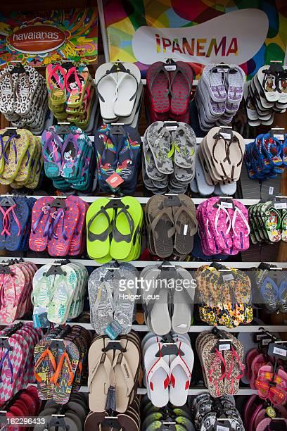 Flip-flop sandals for sale at shop on Sugar Loaf