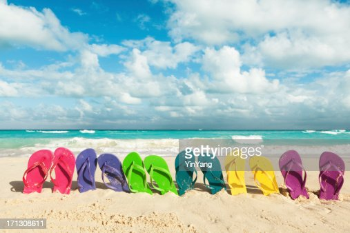 Flip-flops in Beach for Spring Break Party and Summer Vacation