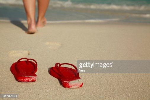 Flip-flops on Carribean Beach
