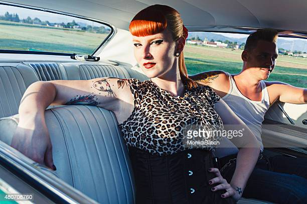 Flirty pin-up girl and teddy boy