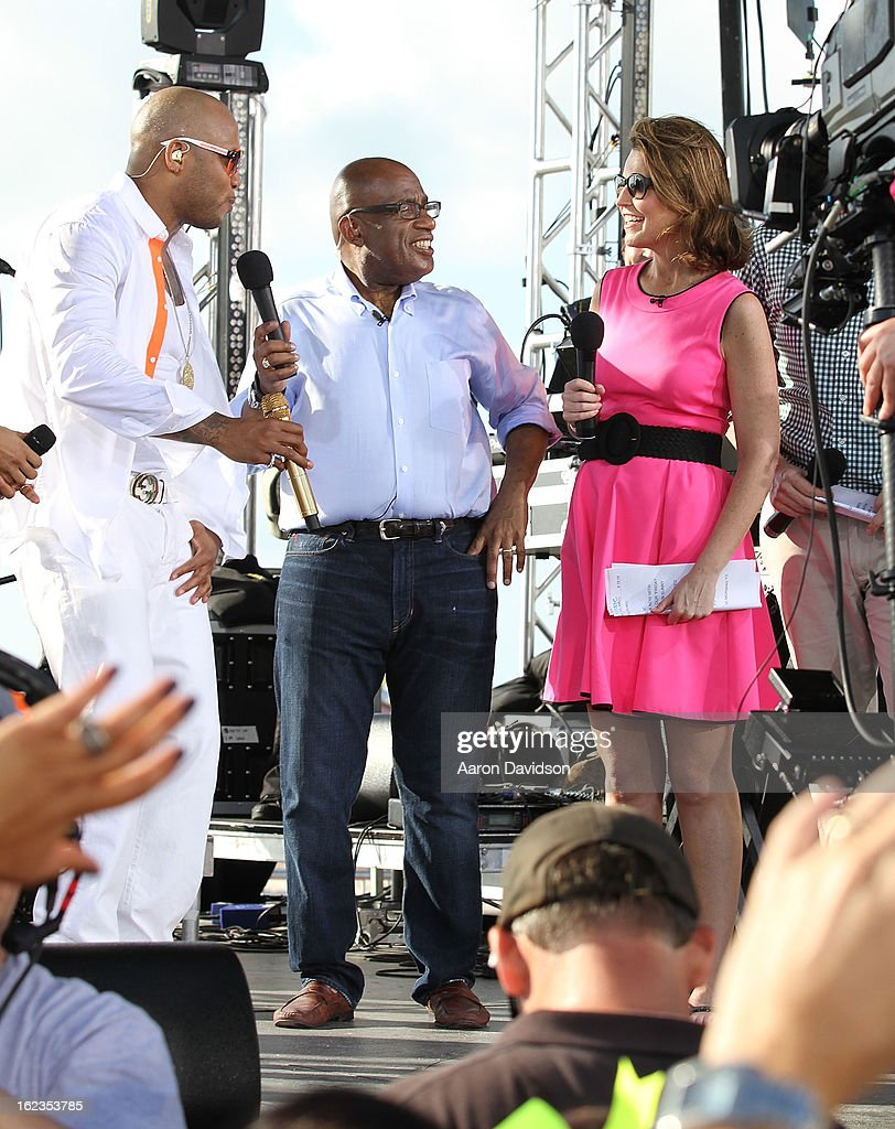 Flo Rida, Al Rocker, and Savannah Guthrie at the Today Show during the South Beach Wine and Food Festival at Loews Miami Beach on February 22, 2013 in Miami Beach, Florida.