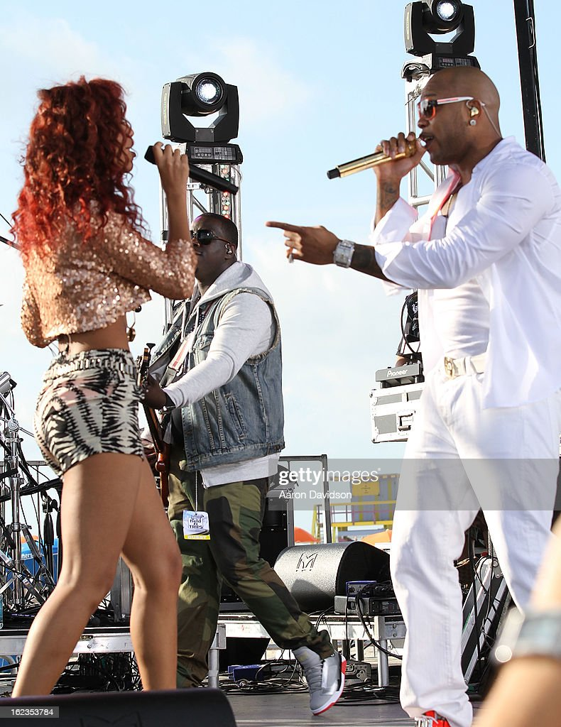 <a gi-track='captionPersonalityLinkClicked' href=/galleries/search?phrase=Flo+Rida&family=editorial&specificpeople=4456012 ng-click='$event.stopPropagation()'>Flo Rida</a> and Natalie La Rose at the Today Show during the South Beach Wine and Food Festival at Loews Miami Beach on February 22, 2013 in Miami Beach, Florida.