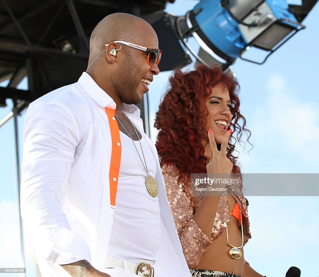 <a gi-track='captionPersonalityLinkClicked' href=/galleries/search?phrase=Flo+Rida&family=editorial&specificpeople=4456012 ng-click='$event.stopPropagation()'>Flo Rida</a> (L) and Natalie La Rose at the Today Show during the South Beach Wine and Food Festival at Loews Miami Beach on February 22, 2013 in Miami Beach, Florida.