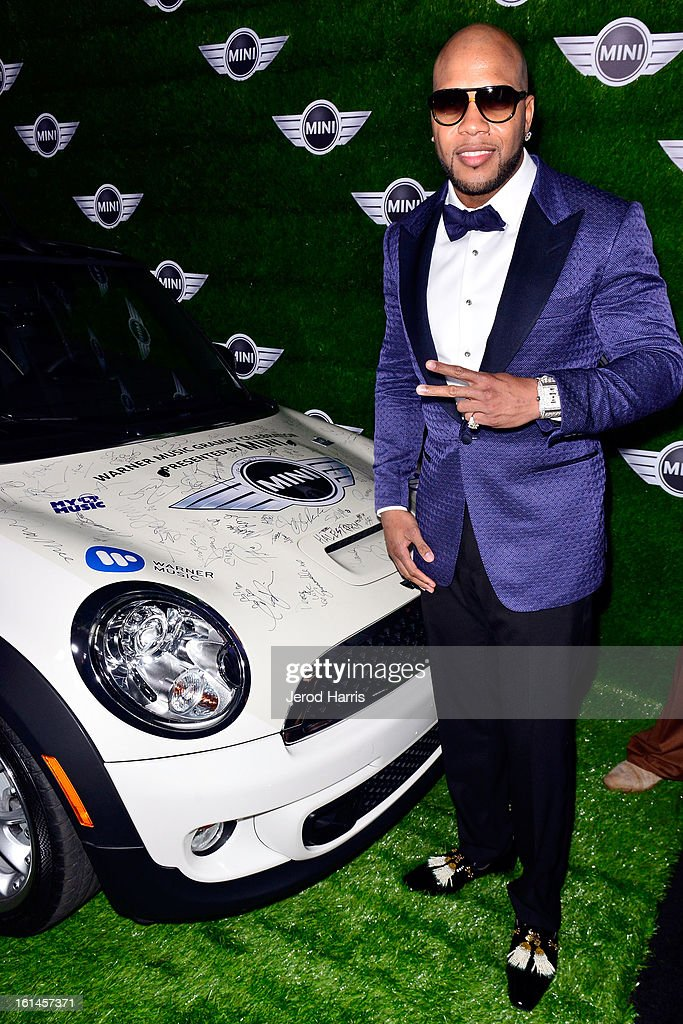 <a gi-track='captionPersonalityLinkClicked' href=/galleries/search?phrase=Flo+Rida&family=editorial&specificpeople=4456012 ng-click='$event.stopPropagation()'>Flo Rida</a> arrives at the Warner Music Group GRAMMY Celebration - Presented by Mini at Chateau Marmont on February 10, 2013 in Los Angeles, California.