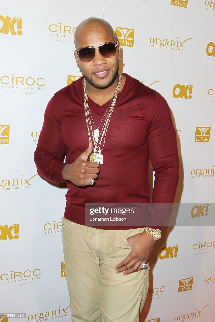 <a gi-track='captionPersonalityLinkClicked' href=/galleries/search?phrase=Flo+Rida&family=editorial&specificpeople=4456012 ng-click='$event.stopPropagation()'>Flo Rida</a> attends the OK! Magazine Pre-GRAMMY Party at Sound on February 7, 2013 in Hollywood, California.