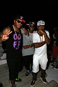 Flo Rida Jeremih and Red Cafe attend the Revolt Music Conference at Fontainebleau Miami Beach on October 18 in Miami Beach Florida
