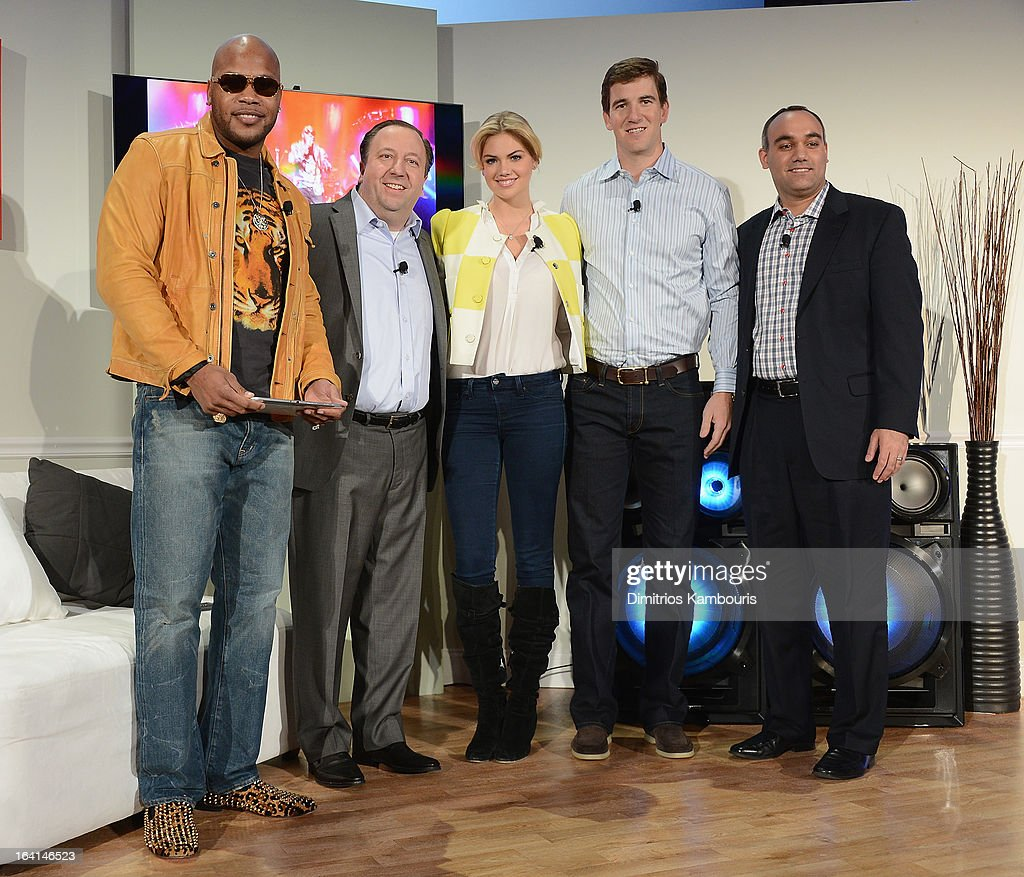 Flo Rida, joe Stinziano, Kate Upton, Eli Manning and Dave Das attend the Samsung 2013 Television Line Launch Event at the Museum Of American Finance on March 20, 2013 in New York City.