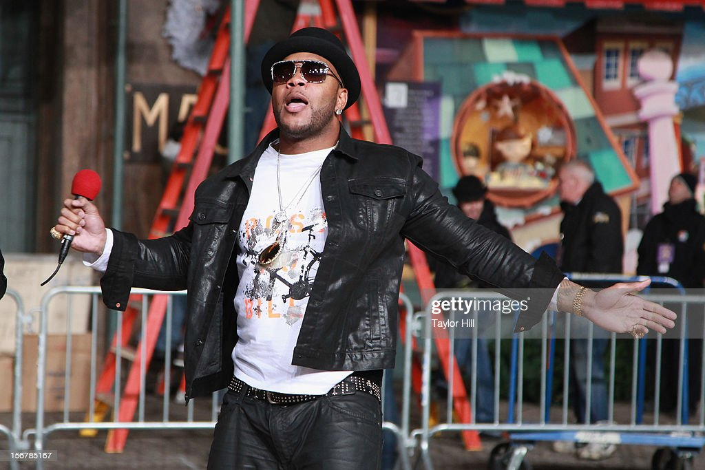 Flo Rida performs during day two of the 86th Anniversary Macy's Thanksgiving Day Parade Rehearsals at Macy's Herald Square on November 20, 2012 in New York City.
