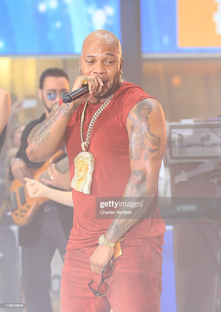 <a gi-track='captionPersonalityLinkClicked' href=/galleries/search?phrase=Flo+Rida&family=editorial&specificpeople=4456012 ng-click='$event.stopPropagation()'>Flo Rida</a> performs on NBC's 'Today' at Rockefeller Plaza on August 9, 2013 in New York, New York.