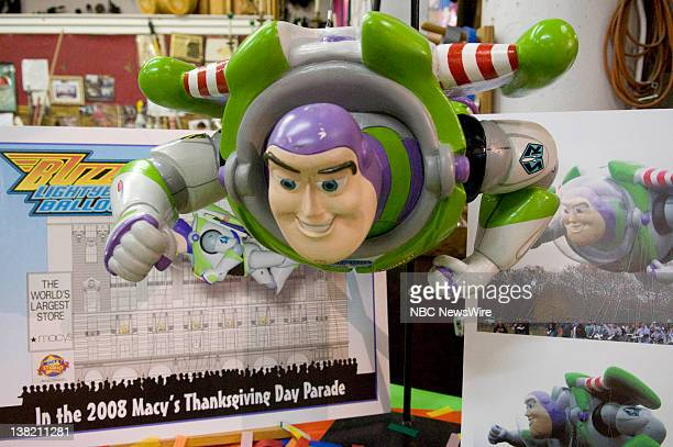 S THANKSGIVING DAY PARADE Float and Balloon Testing at Macy's Studio Air Date Pictured Model of 'Buzz Lightyear' balloon from Disney Pixar Floats and...