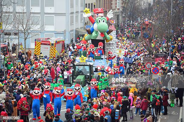 A float featuring 'Super Mario' participates in the annual Rose Monday carnival parade on February 16 2015 in Mainz Germany Rose Monday in German...
