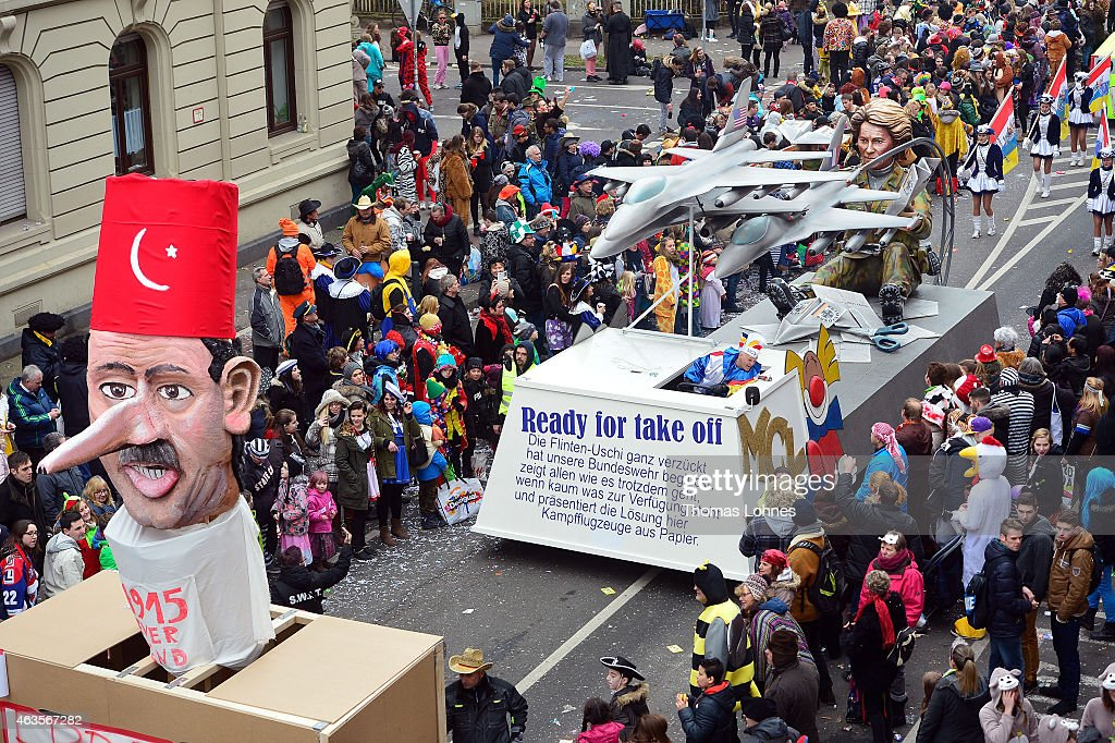 A float featuring Turkish President Recep Tayyip Erdogan and a float featuring the German minister of defence Ursula von der Leyern under the motto...