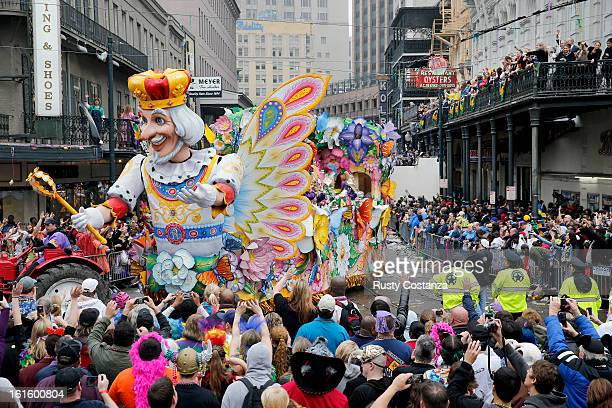 A float in the Rex parade turns on to Canal Street to large crowds with out outstretched arms on Mardi Gras Day Fat Tuesday the traditional...