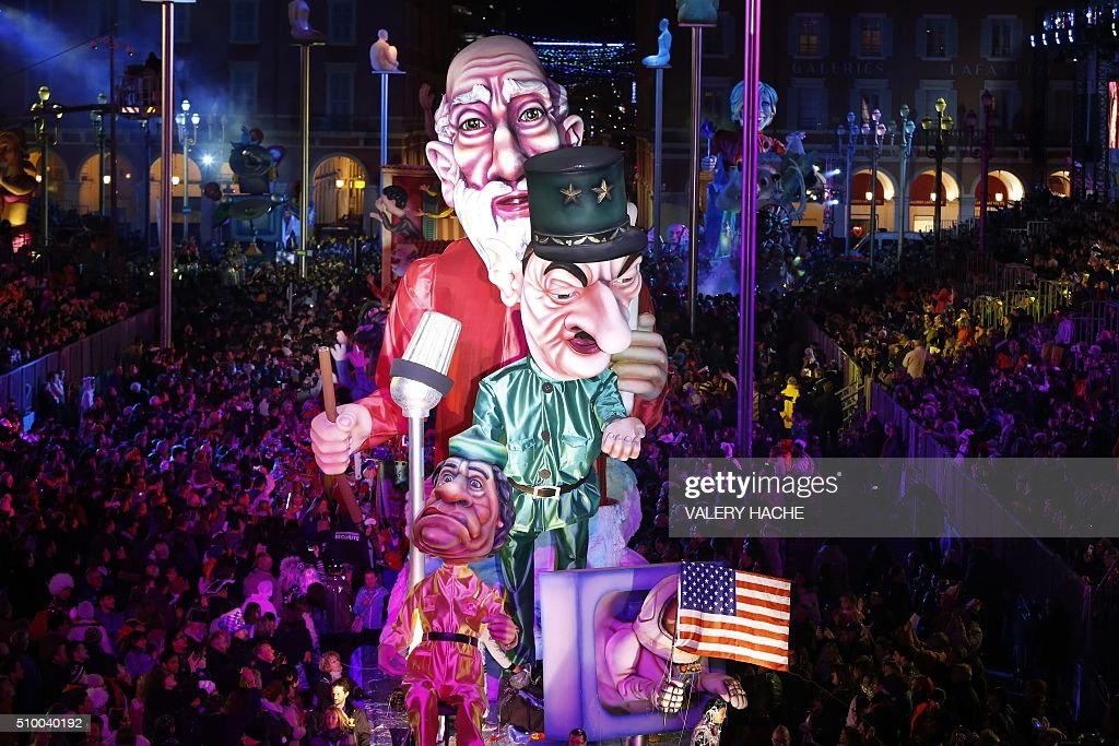 A float is pictured during Nice's Carnival parade, on February 13, 2016 in Nice, southeastern France. / AFP / VALERY HACHE