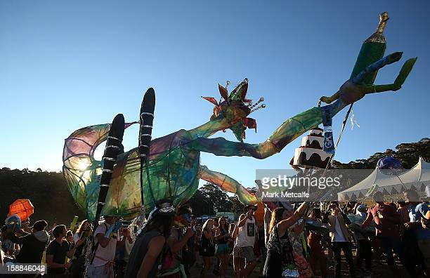 A float moves between the crowd as part of the Fiesta at The Falls Music and Arts Festival on December 31 2012 in Lorne Australia