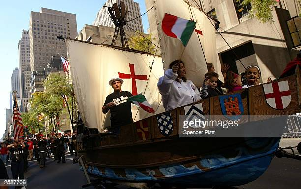 A float representing one of the ships Christopher Columbus used in the discovery of the Americas moves down Fifth Avenue during the Columbus Day...