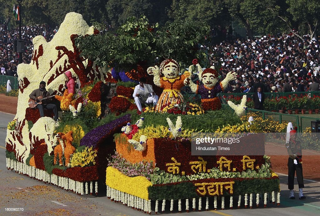 A float representing the Central Public Works Department rolls down the ceremonial boulevard Rajpath during the 64th Republic Day parade celebration on January 26, 2013 in New Delhi, India. India marked its Republic Day with celebrations held under heavy security, especially in New Delhi where large areas were sealed off for an annual parade of military hardware.