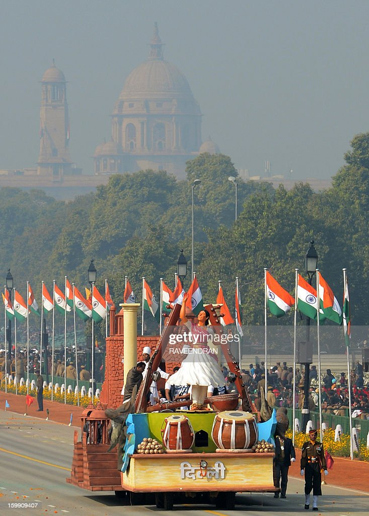 A float representing the Indian capital New Delhi is displayed during a dress rehearsal for the Indian Republic Day parade in New Delhi on January 23, 2013. India will celebrate the 64th Republic Day on January 26 with a large military parade.