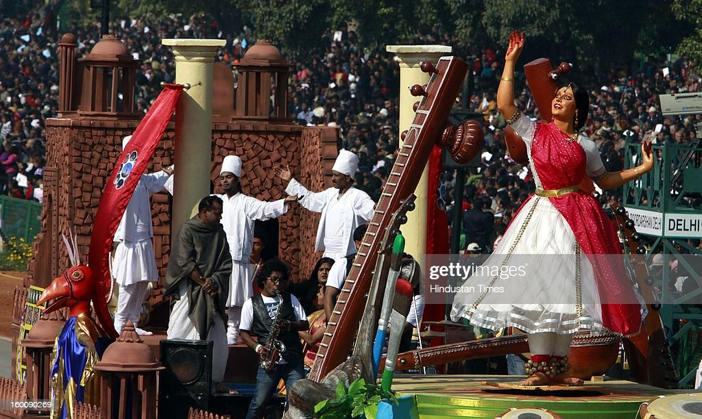 A float representing the Indian Capital of Delhi (The Culture hub of the Country) rolls down the ceremonial boulevard Rajpath during the 64th Republic Day parade celebration on January 26, 2013 in New Delhi, India. India marked its Republic Day with celebrations held under heavy security, especially in New Delhi where large areas were sealed off for an annual parade of military hardware.