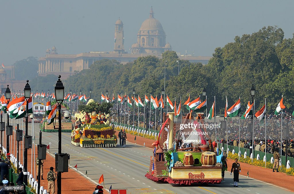 A float representing the Indian captital of Delhi rolls during the Republic Day parade in New Delhi on January 26, 2013. India marked its Republic Day with celebrations held under heavy security, especially in New Delhi where large areas were sealed off for an annual parade of military hardware at which Bhutan's king Jigme Khesar Namgyel Wangchuck was chief guest.