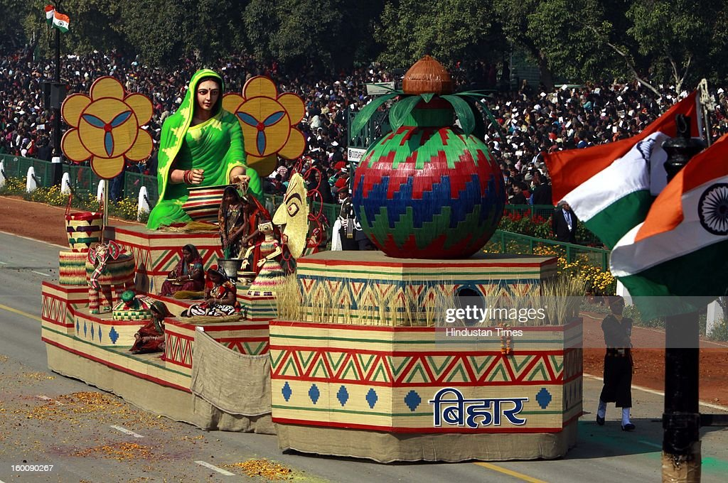 A float representing the Indian state of Bihar ( Sikki Grass Craft of Bihar ) rolls down the ceremonial boulevard Rajpath during the 64th Republic Day parade celebration on January 26, 2013 in New Delhi, India. India marked its Republic Day with celebrations held under heavy security, especially in New Delhi where large areas were sealed off for an annual parade of military hardware.