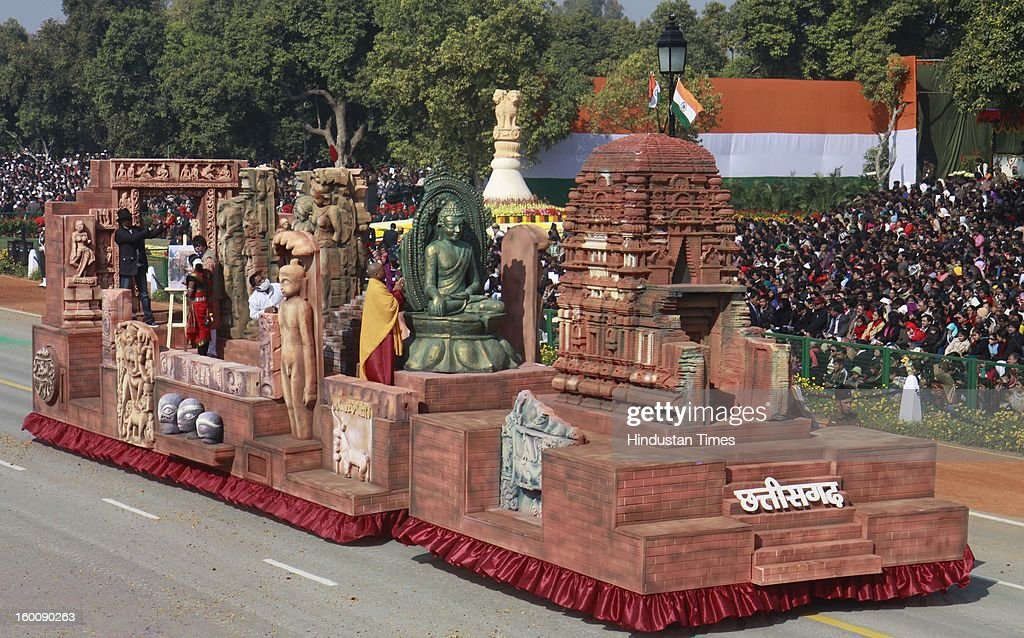 A float representing the Indian state of Chhattisgarh ( Sirpur_ Land of Cultural Prosperity and religious tolerance ) rolls down the ceremonial boulevard Rajpath during the 64th Republic Day parade celebration on January 26, 2013 in New Delhi, India. India marked its Republic Day with celebrations held under heavy security, especially in New Delhi where large areas were sealed off for an annual parade of military hardware.
