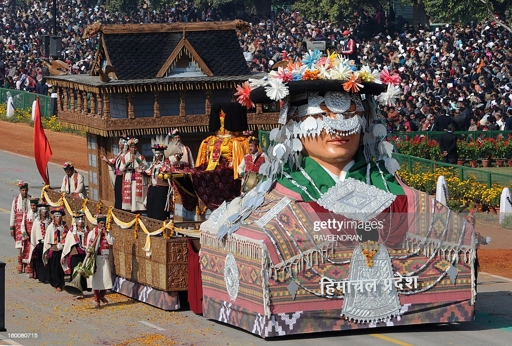 A float representing the Indian state of Himachal Pradesh rolls down the ceremonial boulevard Rajpath during the Republic Day parade in New Delhi on January 26, 2013. India marked its Republic Day with celebrations held under heavy security, especially in New Delhi where large areas were sealed off for an annual parade of military hardware at which Bhutan's king Jigme Khesar Namgyel Wangchuck was chief guest.