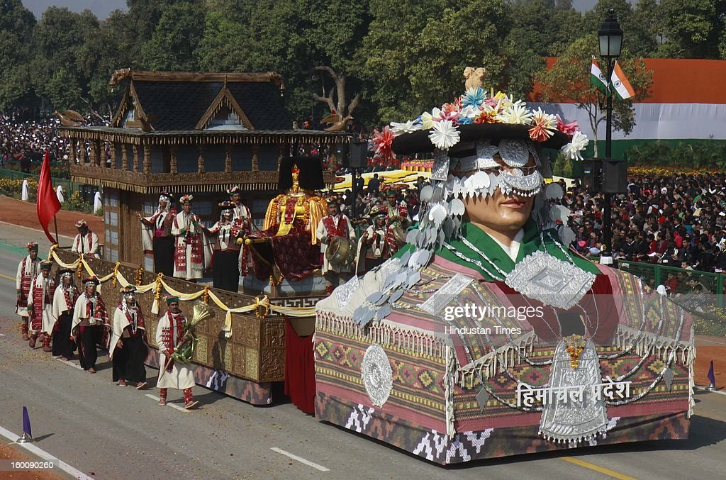 A float representing the Indian state of Himachal Pradesh ( Craft, Architecture and folk Life life of Tribal District of Kinnaur) rolls down the ceremonial boulevard Rajpath during the 64th Republic Day parade celebration on January 26, 2013 in New Delhi, India. India marked its Republic Day with celebrations held under heavy security, especially in New Delhi where large areas were sealed off for an annual parade of military hardware.