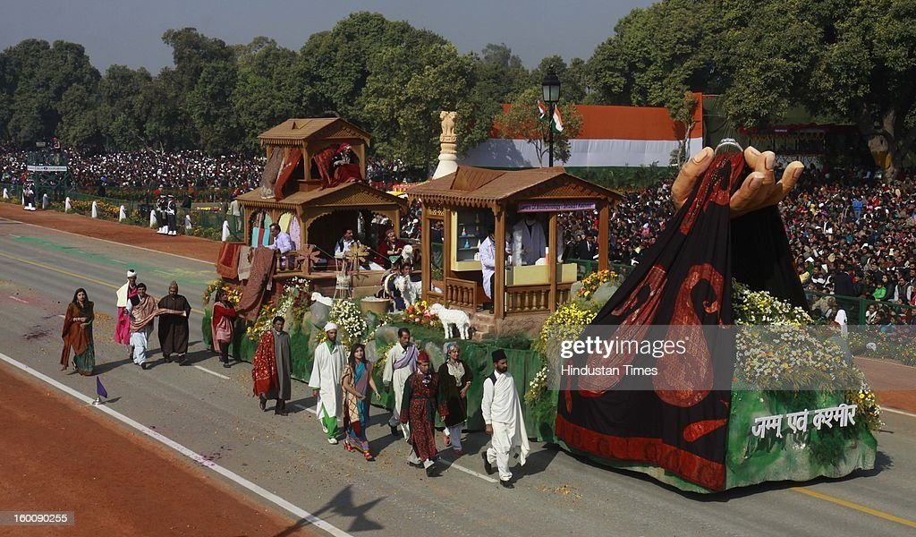 A float representing the Indian state of Jammu and Kashmir ( Pashmina : Linking traditions with Technology) rolls down the ceremonial boulevard Rajpath during the 64th Republic Day parade celebration on January 26, 2013 in New Delhi, India. India marked its Republic Day with celebrations held under heavy security, especially in New Delhi where large areas were sealed off for an annual parade of military hardware.