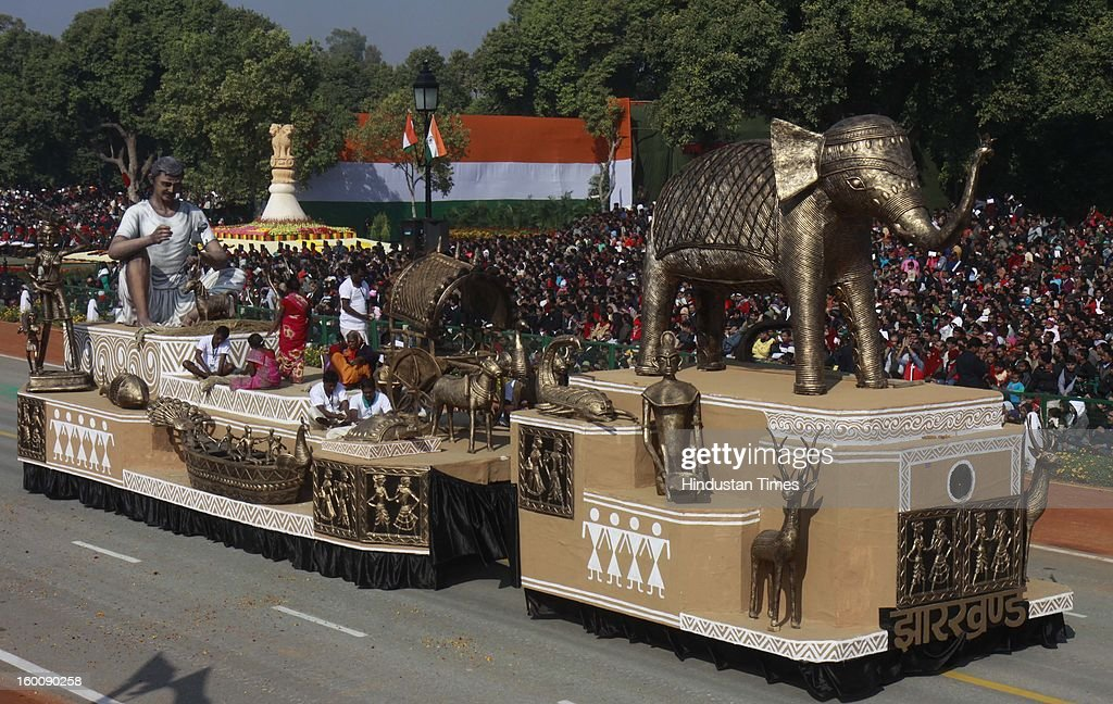 A float representing the Indian state of Jharkhand ( Dokra Art of Jharkhand ) rolls down the ceremonial boulevard Rajpath during the 64th Republic Day parade celebration on January 26, 2013 in New Delhi, India. India marked its Republic Day with celebrations held under heavy security, especially in New Delhi where large areas were sealed off for an annual parade of military hardware.
