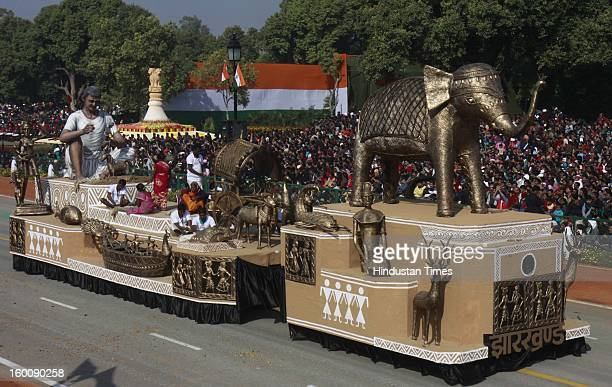 A float representing the Indian state of Jharkhand rolls down the ceremonial boulevard Rajpath during the 64th Republic Day parade celebration on...