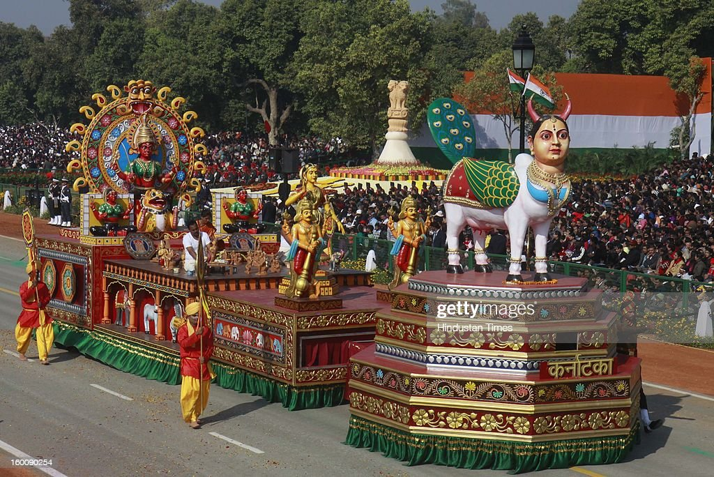 A float representing the Indian state of Karnataka ( Kinnai : An Immortal colour Craft ) rolls down the ceremonial boulevard Rajpath during the 64th Republic Day parade celebration on January 26, 2013 in New Delhi, India. India marked its Republic Day with celebrations held under heavy security, especially in New Delhi where large areas were sealed off for an annual parade of military hardware.