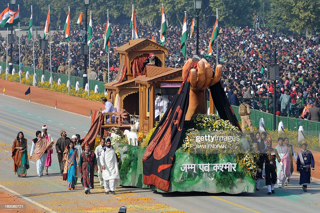 A float representing the Indian state of Kashmir rolls down the ceremonial boulevard Rajpath during the Republic Day parade in New Delhi on January 26, 2013. India marked its Republic Day with celebrations held under heavy security, especially in New Delhi where large areas were sealed off for an annual parade of military hardware at which Bhutan's king Jigme Khesar Namgyel Wangchuck was chief guest.